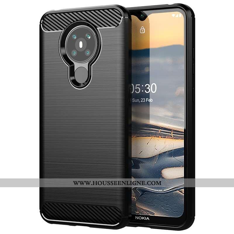Housse Nokia 5.3 Silicone Protection Téléphone Portable Fibre Modèle Fleurie Incassable Étui Noir
