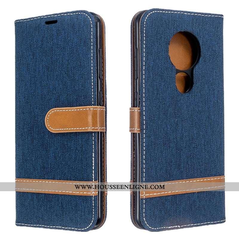 Housse Nokia 6.2 Créatif Portefeuille Cuir Coque En Denim Tout Compris Téléphone Portable Bleu Foncé