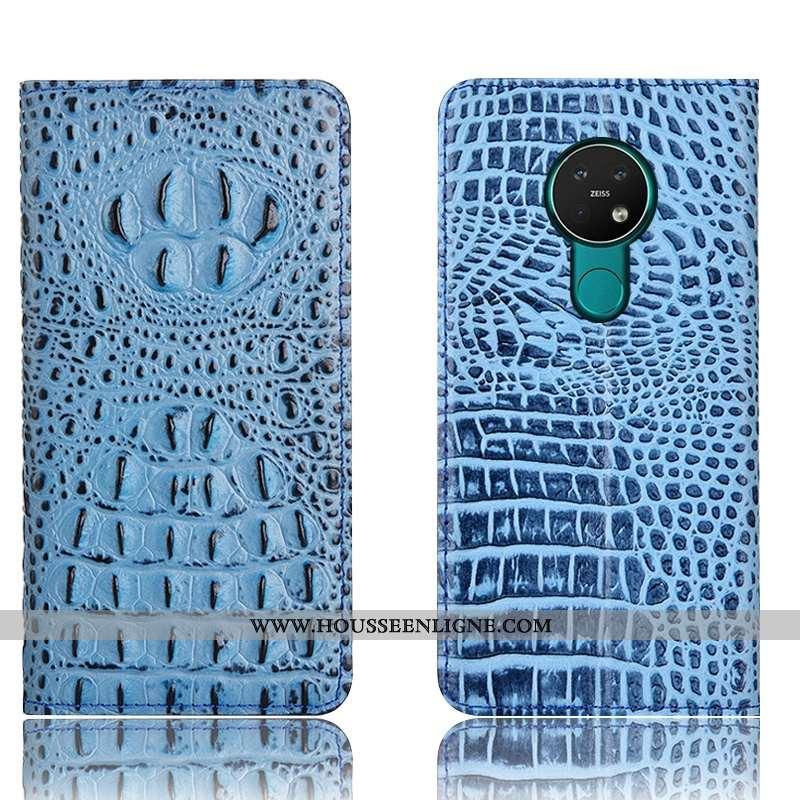 Housse Nokia 6.2 Cuir Véritable Protection Tout Compris Téléphone Portable Étui Bleu