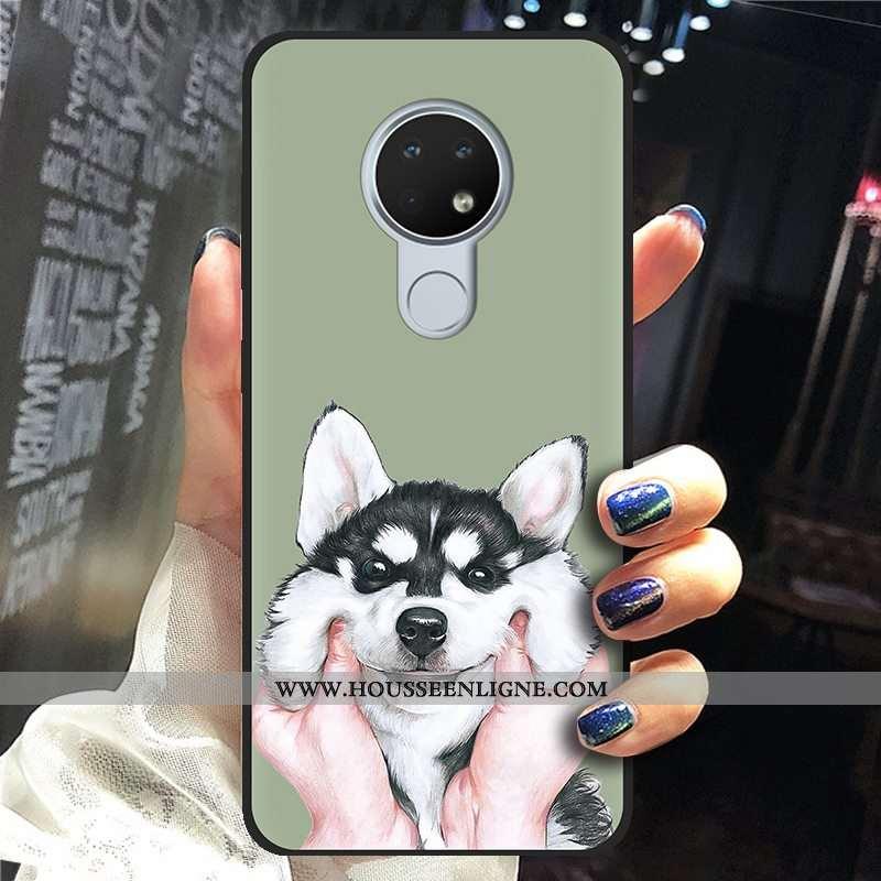 Housse Nokia 6.2 Délavé En Daim Créatif Tendance Fluide Doux Vert Noir Téléphone Portable Verte