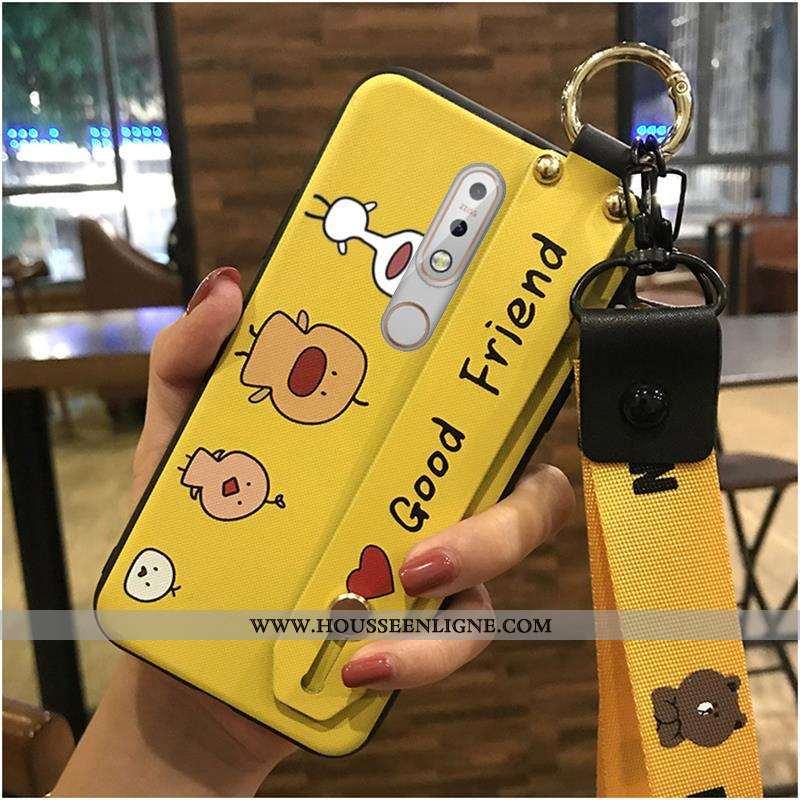 Housse Nokia 7.1 Fluide Doux Protection Coque Support Téléphone Portable Jaune Dessin Animé