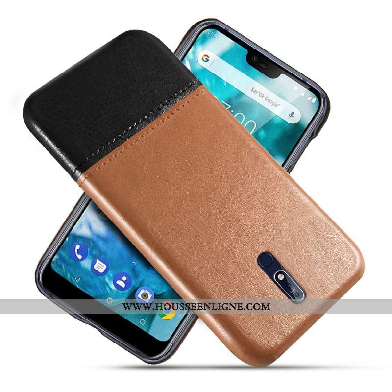 Housse Nokia 7.1 Protection Cuir Téléphone Portable Kaki Antidérapant Qualité Modèle Fleurie Khaki