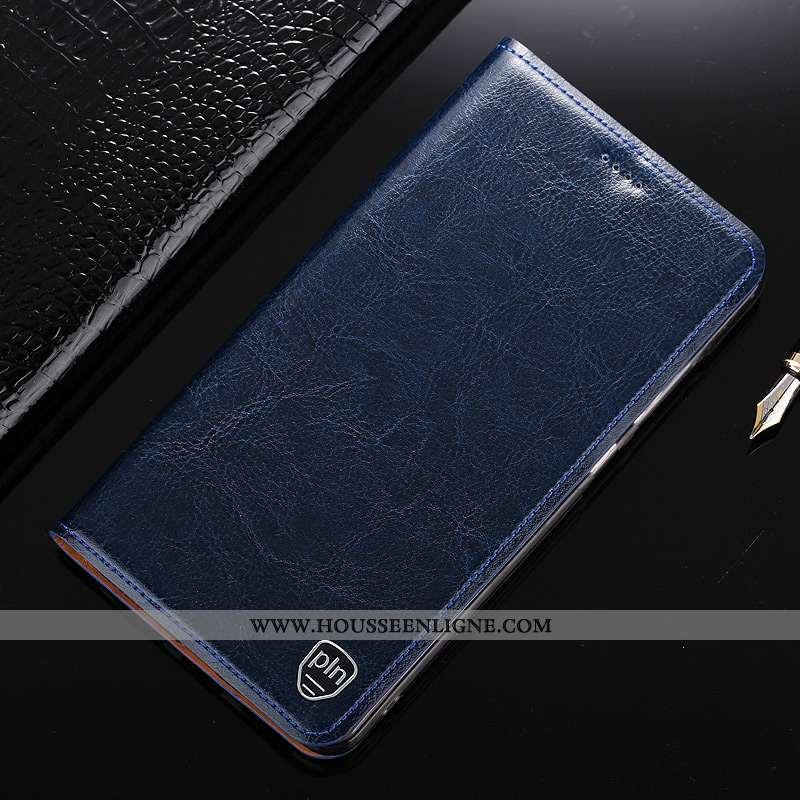 Housse Nokia 7.1 Protection Cuir Véritable Coque Modèle Fleurie Bleu Marin Étui Bleu Foncé