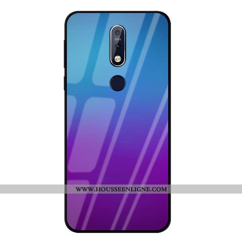 Housse Nokia 7.1 Verre Protection Incassable Violet Coque Étui Couleur Unie