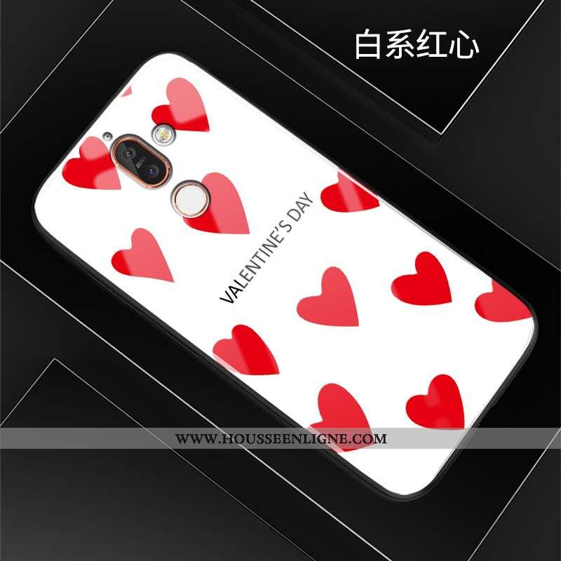 Housse Nokia 7 Plus Créatif Dessin Animé Téléphone Portable Étui Verre Silicone Coque Rouge