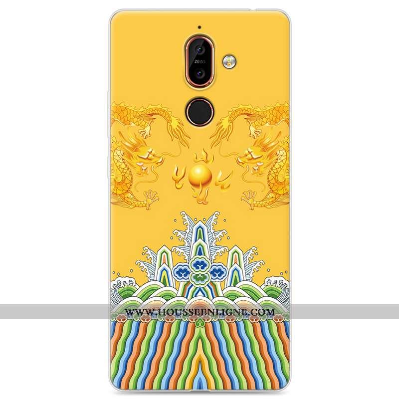 Housse Nokia 7 Plus Créatif Silicone Téléphone Portable Incassable Étui Amoureux Tout Compris Jaune