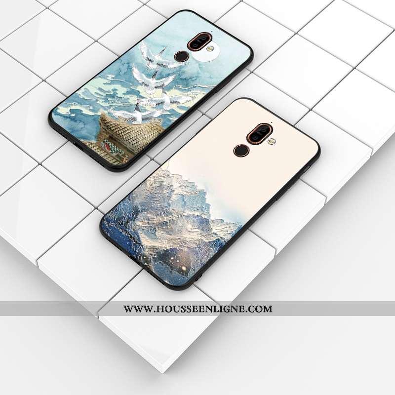 Housse Nokia 7 Plus Personnalité Gaufrage Silicone Téléphone Portable Bleu Personnalisé Délavé En Da