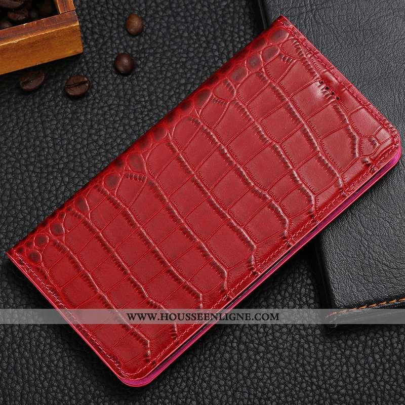Housse Nokia 7 Plus Protection Cuir Véritable Étui Cuir Coque Téléphone Portable Rouge