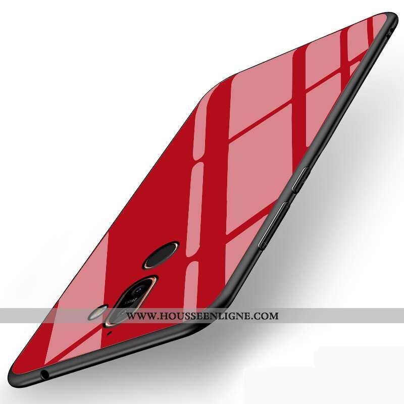 Housse Nokia 7 Plus Verre Tendance Protection Étui Téléphone Portable Simple Silicone Rouge