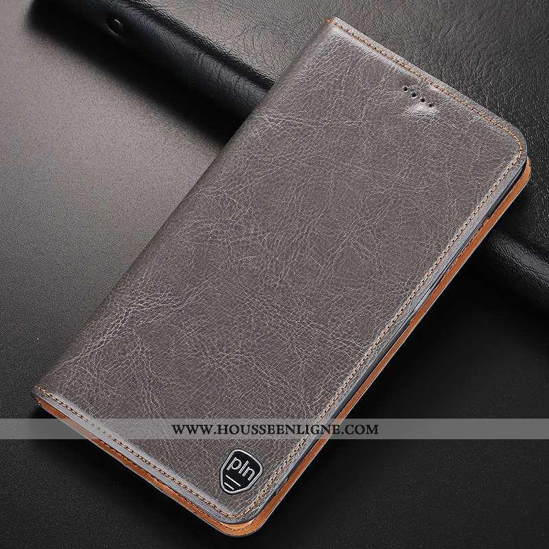 Housse Nokia 8.1 Cuir Véritable Protection Étui Incassable Coque Téléphone Portable Gris