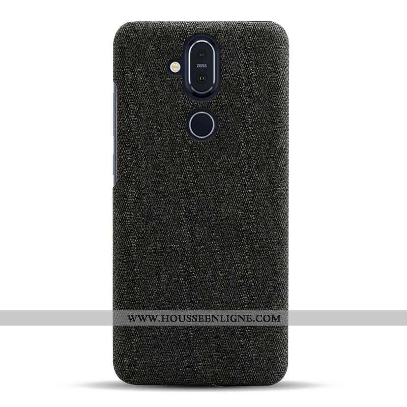 Housse Nokia 8.1 Légère Protection Légères Tissu Simple Téléphone Portable Coque Noir