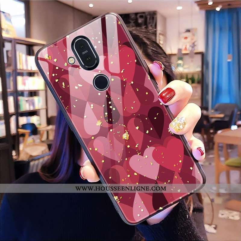 Housse Nokia 8.1 Modèle Fleurie Verre Tout Compris Léopard Rouge Téléphone Portable Coque