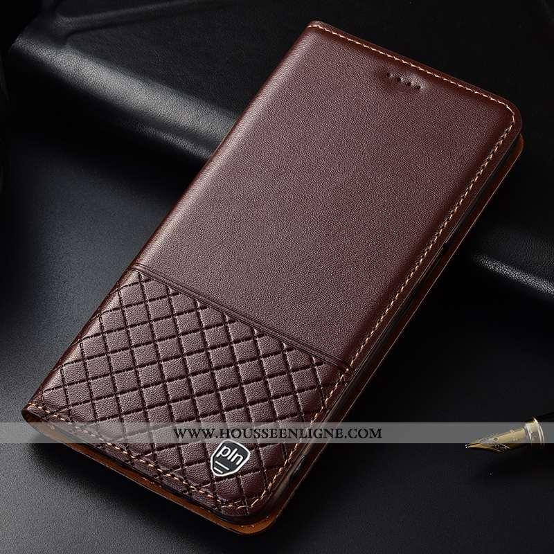 Housse Nokia 8.1 Protection Cuir Véritable Étui Incassable Mesh Coque Marron