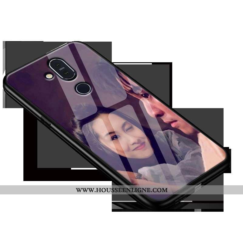 Housse Nokia 8.1 Protection Verre Amoureux Délavé En Daim Membrane Silicone Tout Compris Violet