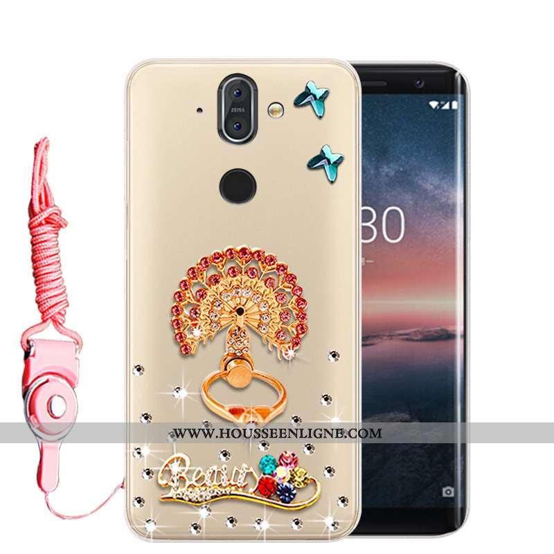 Housse Nokia 8 Sirocco Protection Strass Or Téléphone Portable Incassable Fluide Doux Étui Doré