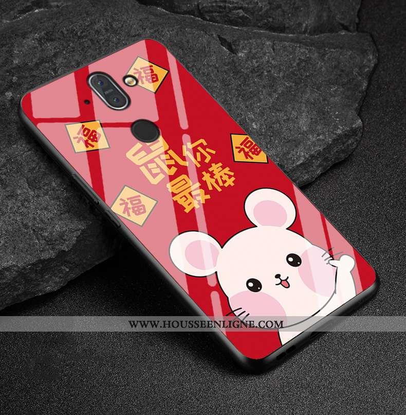 Housse Nokia 8 Sirocco Protection Verre Étui Rat Téléphone Portable Coque Rouge