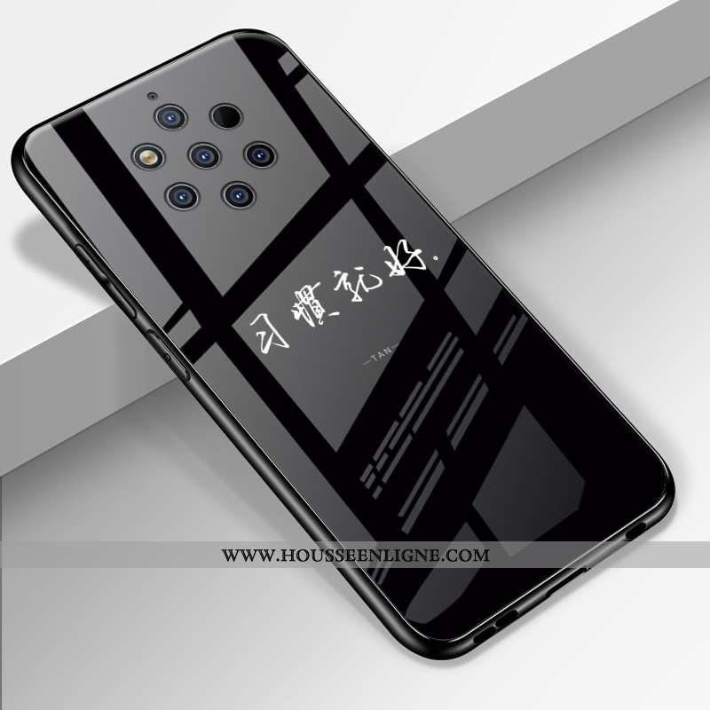 Housse Nokia 9 Pureview Créatif Dessin Animé Tout Compris Miroir Verre Incassable Fluide Doux Noir
