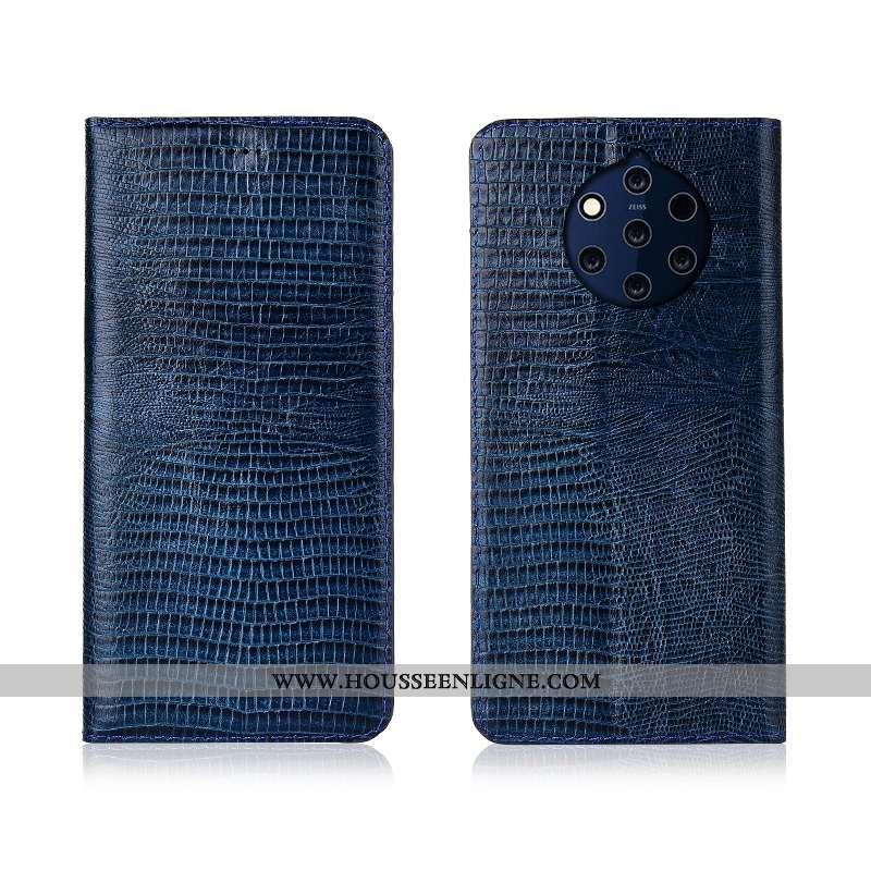 Housse Nokia 9 Pureview Cuir Véritable Cuir Silicone Téléphone Portable Étui Fluide Doux Coque Bleu