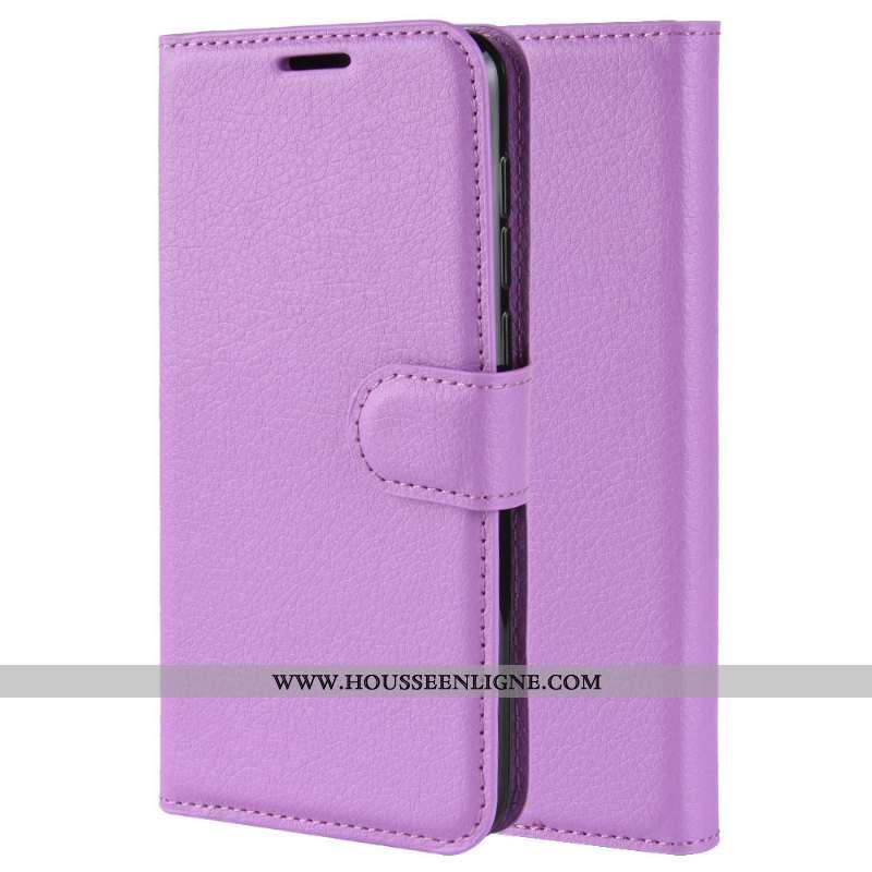 Housse Nokia 9 Pureview Modèle Fleurie Cuir Litchi Téléphone Portable Coque Violet Étui