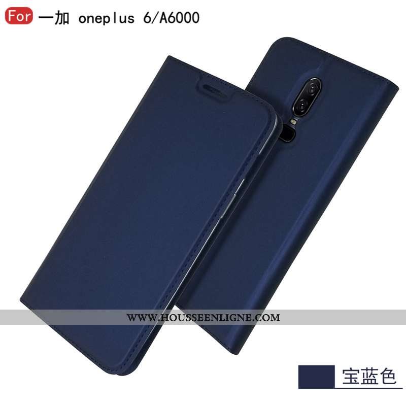 Housse Oneplus 6 Protection Cuir Incassable Étoile Tout Compris Téléphone Portable Bleu Marin Bleu F