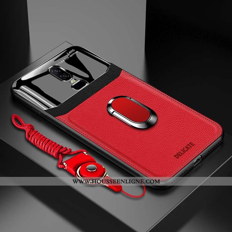 Housse Oneplus 6 Silicone Protection Personnalité Coque Anneau Téléphone Portable Cuir Rouge