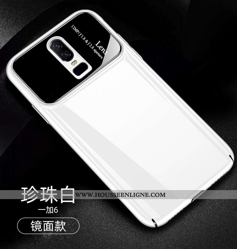 Housse Oneplus 6 Tendance Légère Net Rouge Étui Téléphone Portable Blanc Créatif Blanche