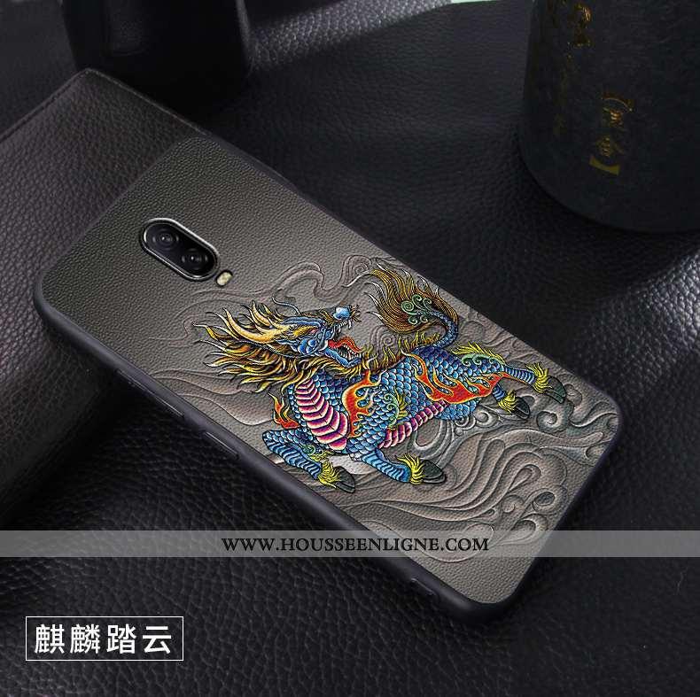 Housse Oneplus 6t Gaufrage Ultra Créatif Cuir Délavé En Daim Téléphone Portable Personnalité Noir