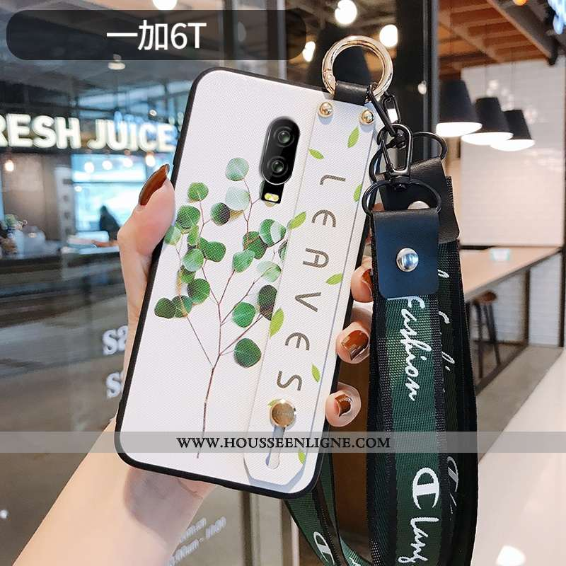 Housse Oneplus 6t Gaufrage Ultra Silicone Tout Compris Légère Personnalité Style Chinois Blanche