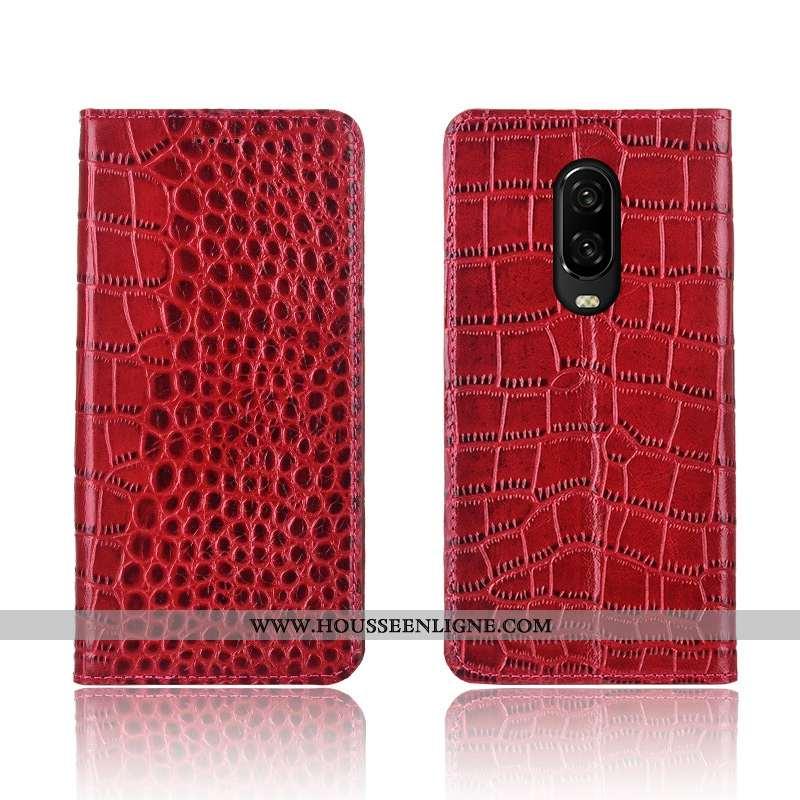Housse Oneplus 6t Protection Cuir Véritable Incassable Fluide Doux Nouveau Clamshell Rouge
