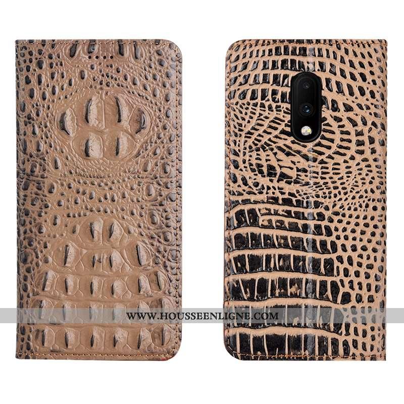 Housse Oneplus 7 Cuir Véritable Protection Étui Kaki Téléphone Portable Crocodile Khaki