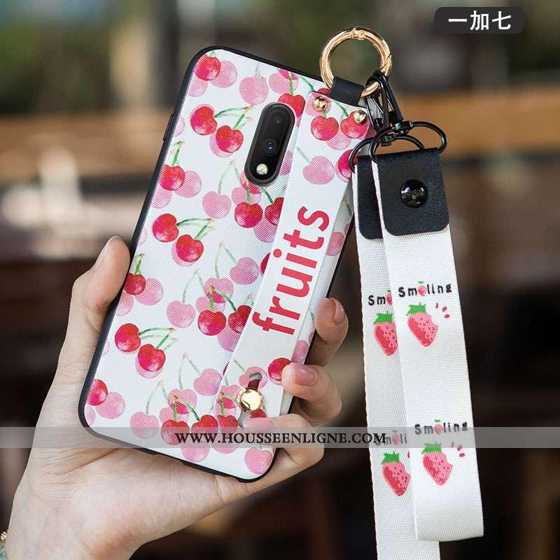 Housse Oneplus 7 Délavé En Daim Personnalité Tendance Créatif Rouge Téléphone Portable Coque