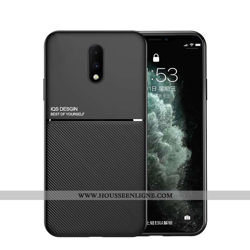 Housse Oneplus 7 Fluide Doux Silicone Ultra Cuir Téléphone Portable Personnalité Protection Noir