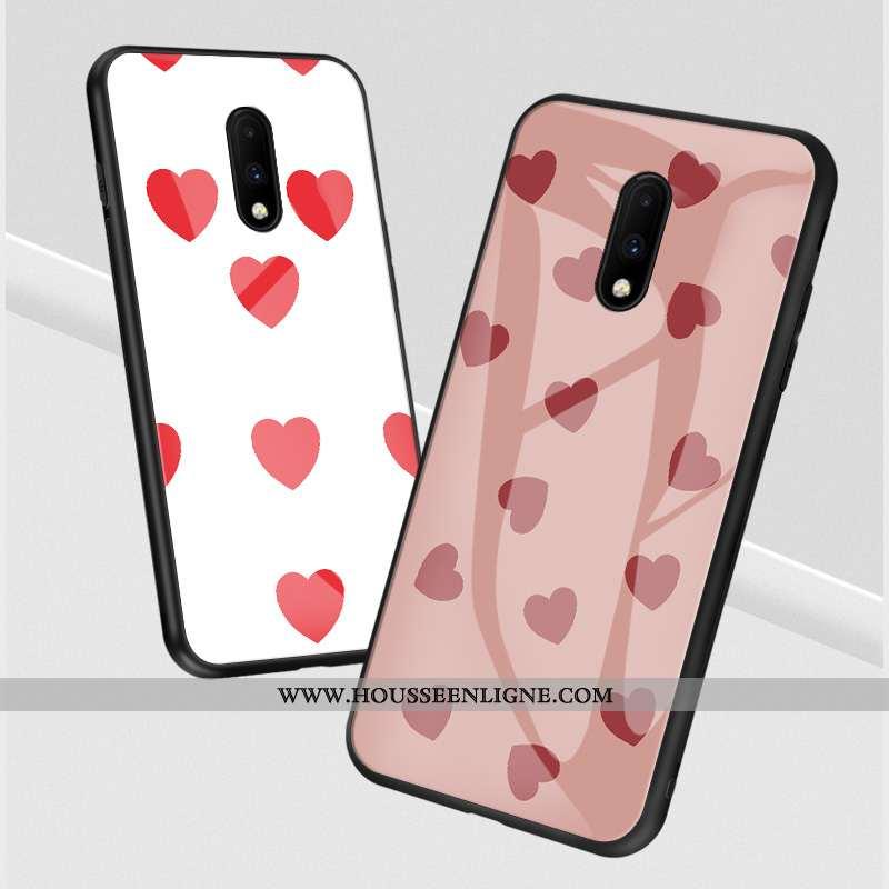 Housse Oneplus 7 Personnalité Verre Blanc Coque Téléphone Portable Tout Compris Amour Blanche