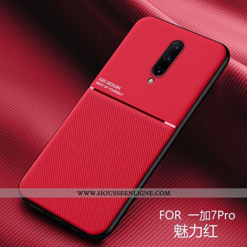 Housse Oneplus 7 Pro Délavé En Daim Personnalité Rouge Légère Créatif Téléphone Portable Incassable