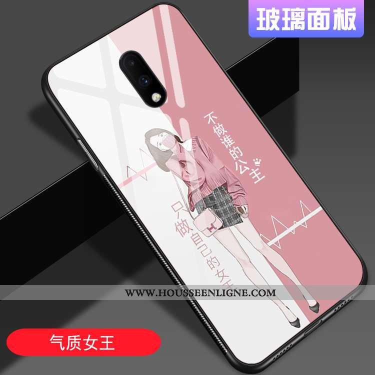 Housse Oneplus 7 Verre Personnalité Miroir Style Chinois Net Rouge Tout Compris Tendance Rose