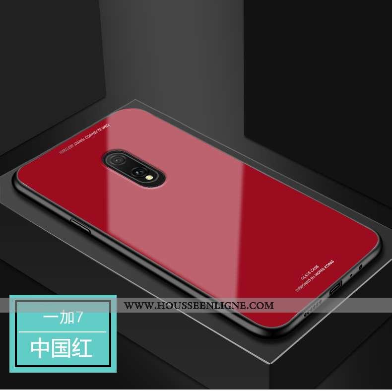 Housse Oneplus 7 Verre Protection Incassable Étui Téléphone Portable Tout Compris Coque Rouge