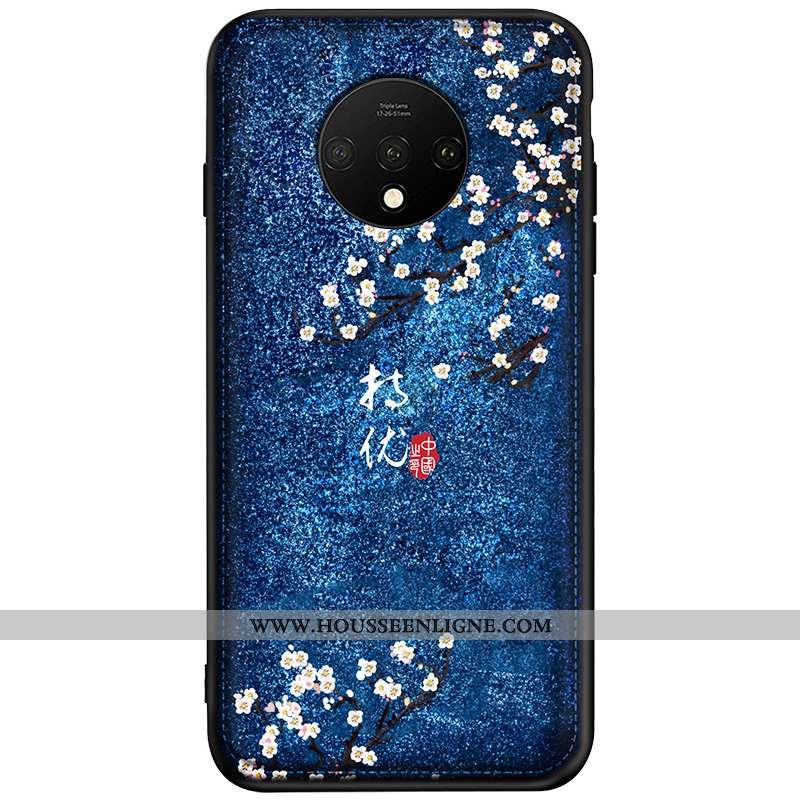 Housse Oneplus 7t Modèle Fleurie Personnalité Cuir Coque Net Rouge Gaufrage Bleu