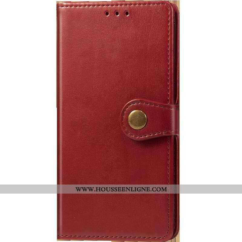 Housse Oneplus 7t Pro Ornements Suspendus Cuir Protection Coque Rouge Couleur Unie