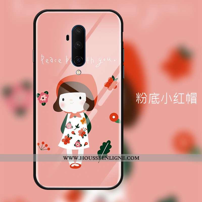 Housse Oneplus 7t Pro Tendance Protection Verre Tout Compris Rose Téléphone Portable Coque