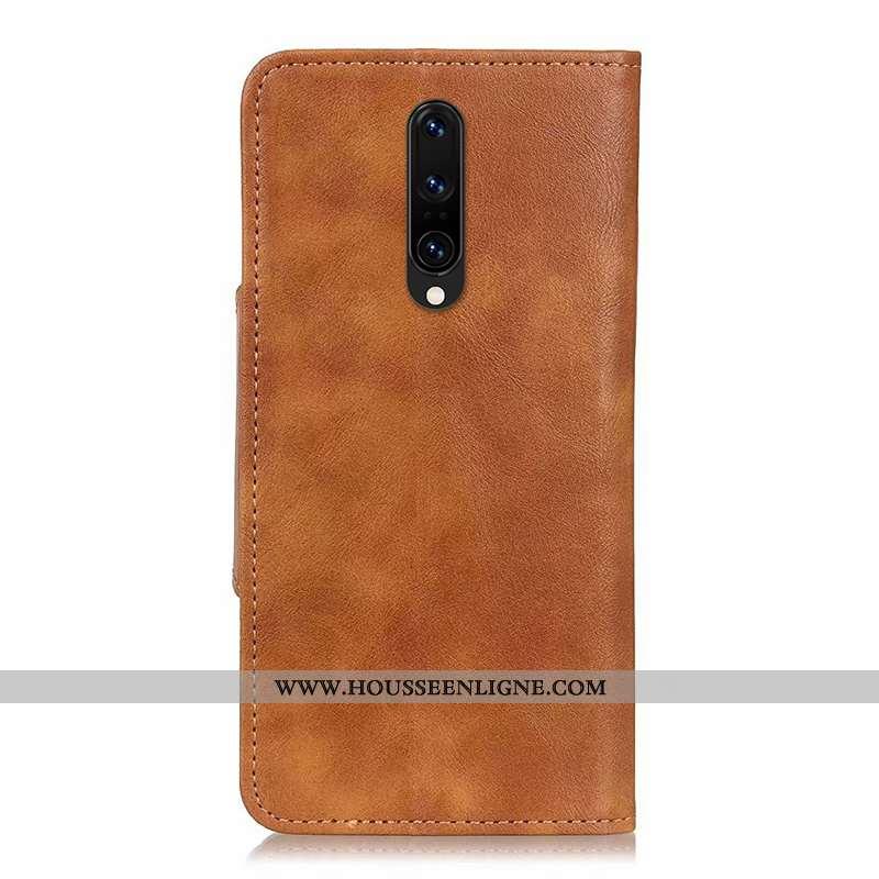 Housse Oneplus 8 Cuir Véritable Tendance Étui Protection Kaki Téléphone Portable Silicone Khaki