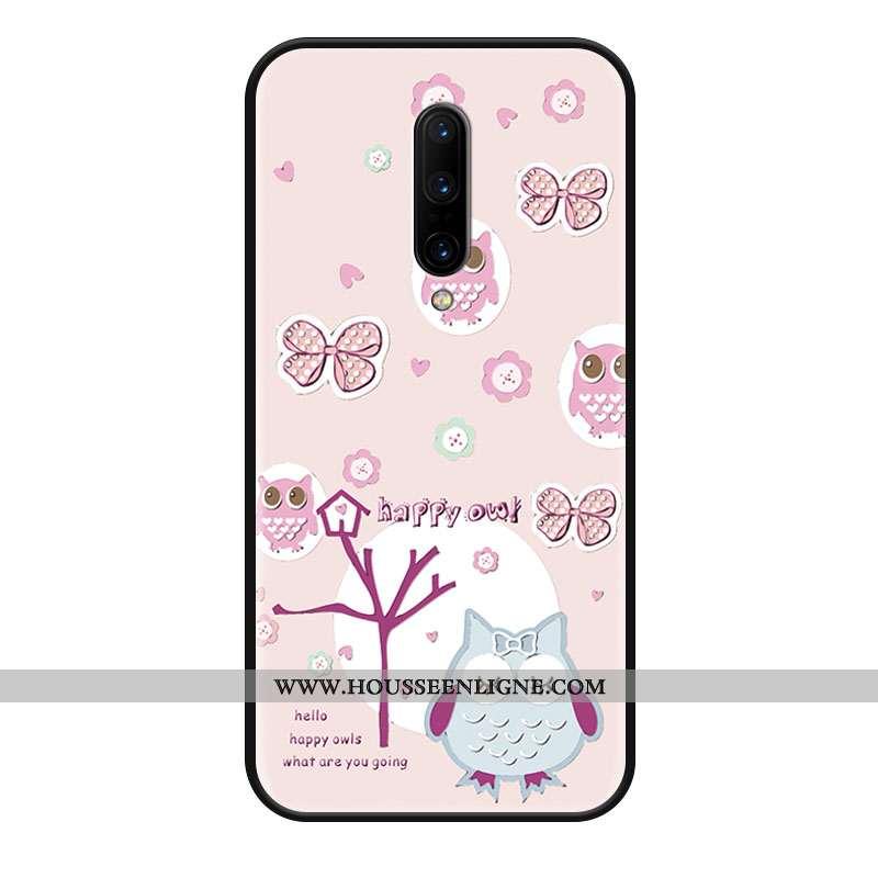 Housse Oneplus 8 Délavé En Daim Dessin Animé Grand Téléphone Portable Protection Charmant Coque Rose