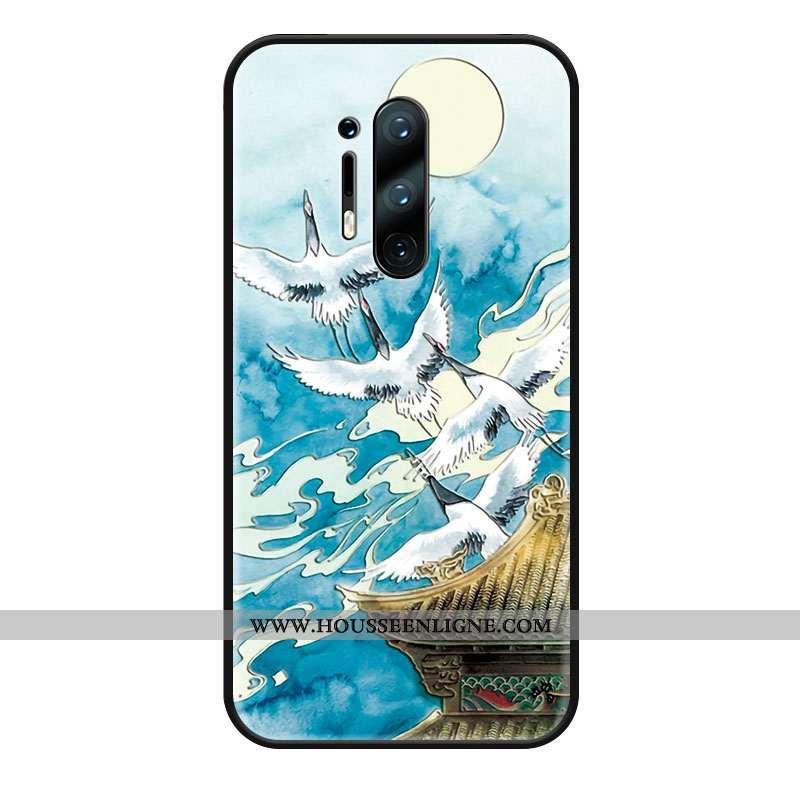 Housse Oneplus 8 Pro Créatif Gaufrage Style Chinois Grue Coque Étui Protection Bleu