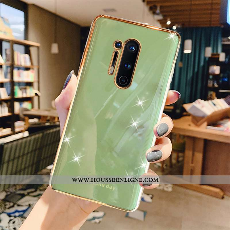 Housse Oneplus 8 Pro Luxe Créatif Coque Protection Gris Luxe Placage Verte