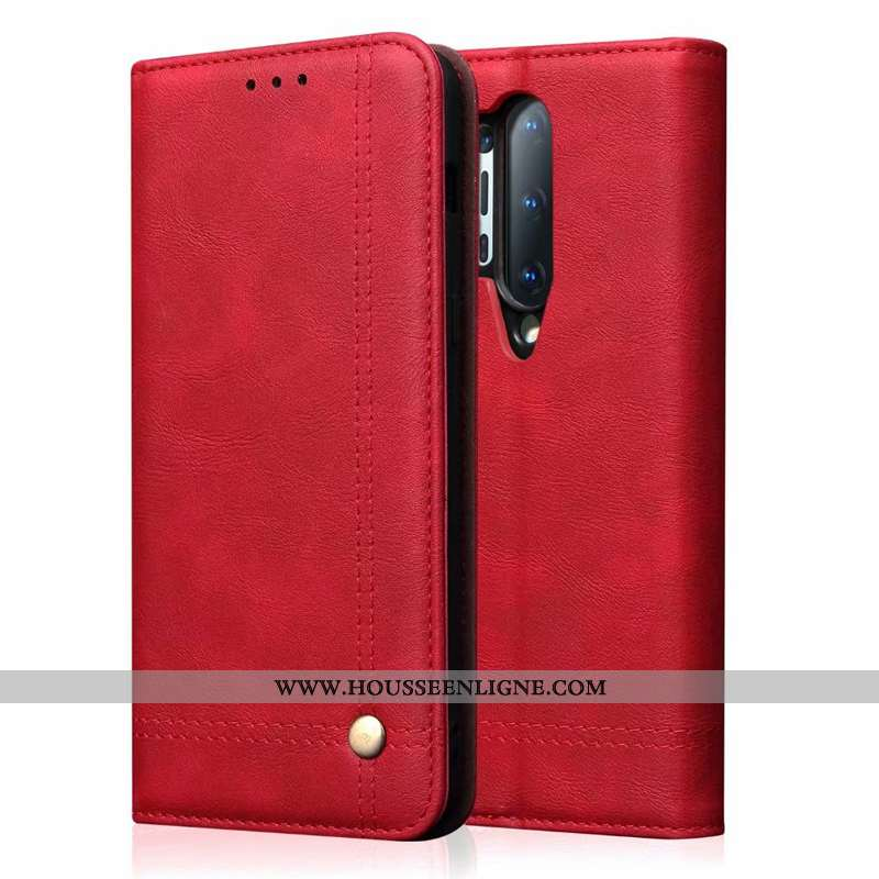 Housse Oneplus 8 Pro Personnalité Cuir Véritable Rouge Téléphone Portable Étui Luxe Incassable