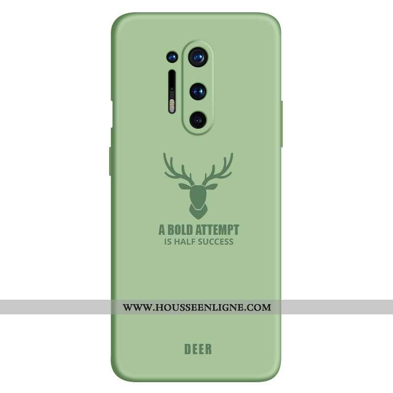 Housse Oneplus 8 Pro Ultra Légère Coque Simple Silicone Étui Téléphone Portable Verte