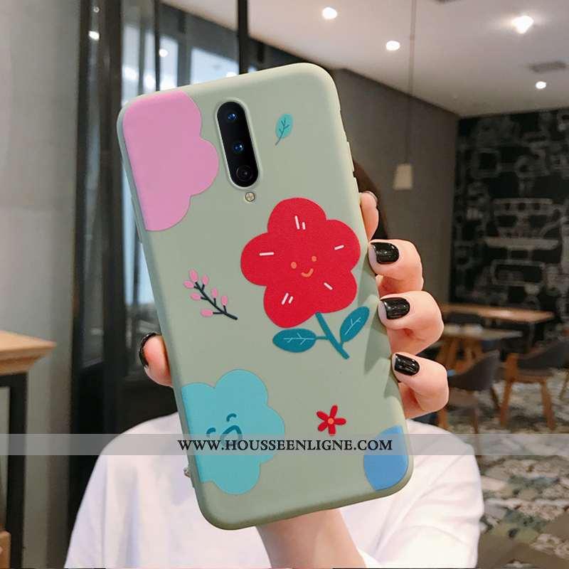 Housse Oneplus 8 Tendance Fluide Doux Coque Fleurs Téléphone Portable Art Créatif Verte