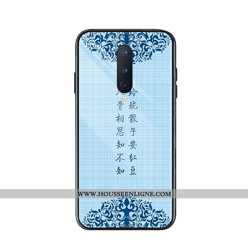 Housse Oneplus 8 Tendance Protection Coque Étui Verre Téléphone Portable Tout Compris Bleu