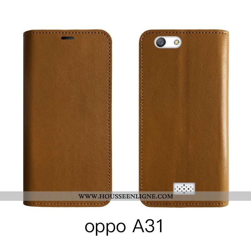 Housse Oppo A31 Cuir Véritable Cuir Bovins Luxe Protection Marron Téléphone Portable