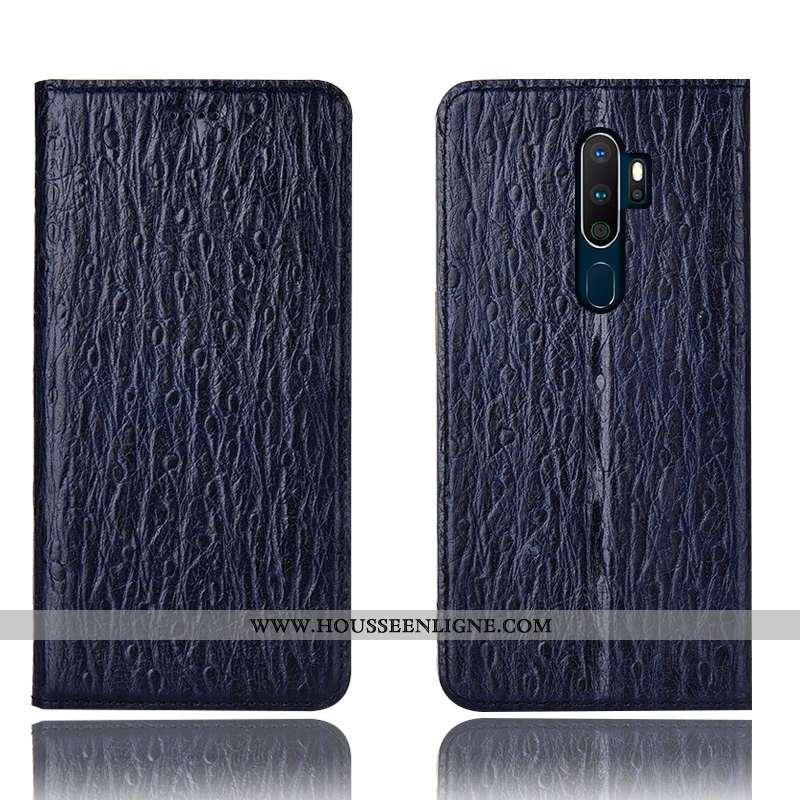 Housse Oppo A5 2020 Cuir Véritable Protection Étui Coque Incassable Bleu Marin Bleu Foncé
