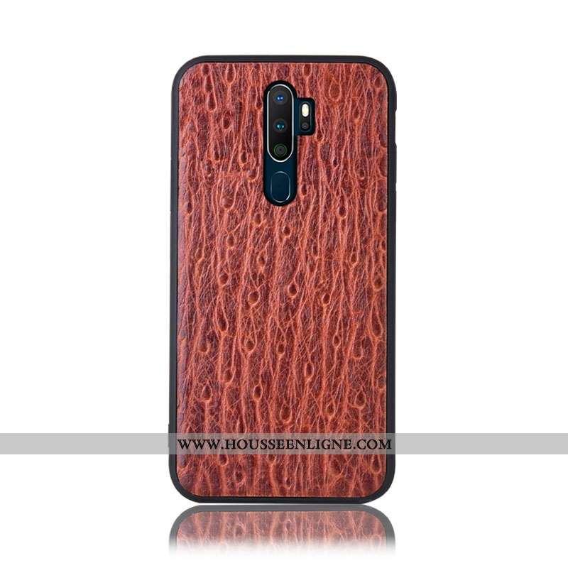 Housse Oppo A5 2020 Protection Cuir Véritable Étui Incassable Modèle Fleurie Téléphone Portable Coqu